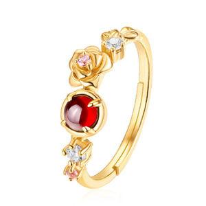 Garnet/Rose Quartz Rose Engagement Ring Gold Plate